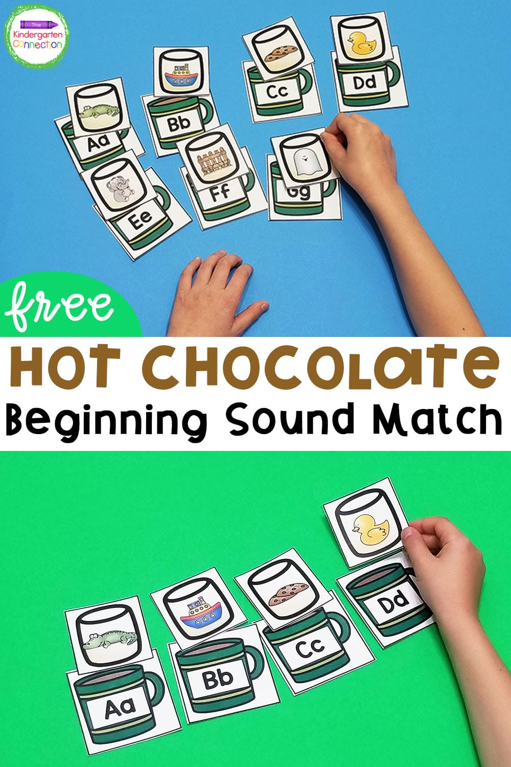 Grab our FREE Printable Hot Chocolate Beginning Sound Match Activity for Kindergarten and use in your literacy centers or small groups!