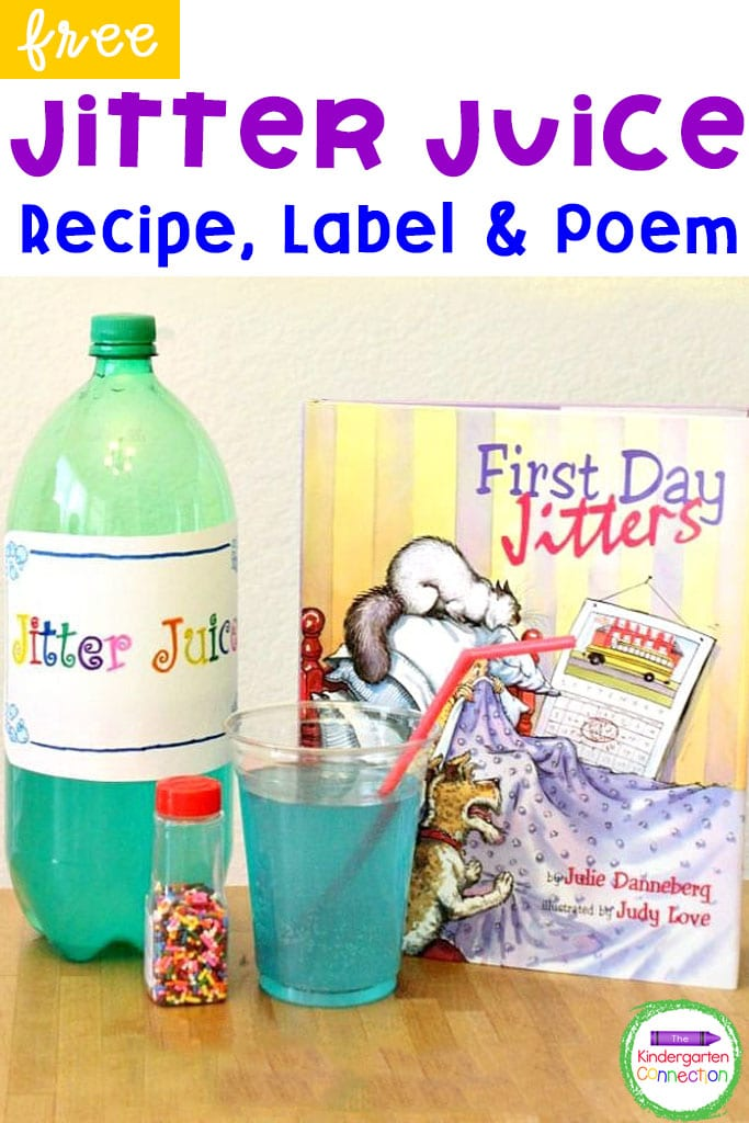 """This Jitter Juice recipe is perfect for the first day of school! Pair it with the fun back to school book, """"First Day Jitters."""""""