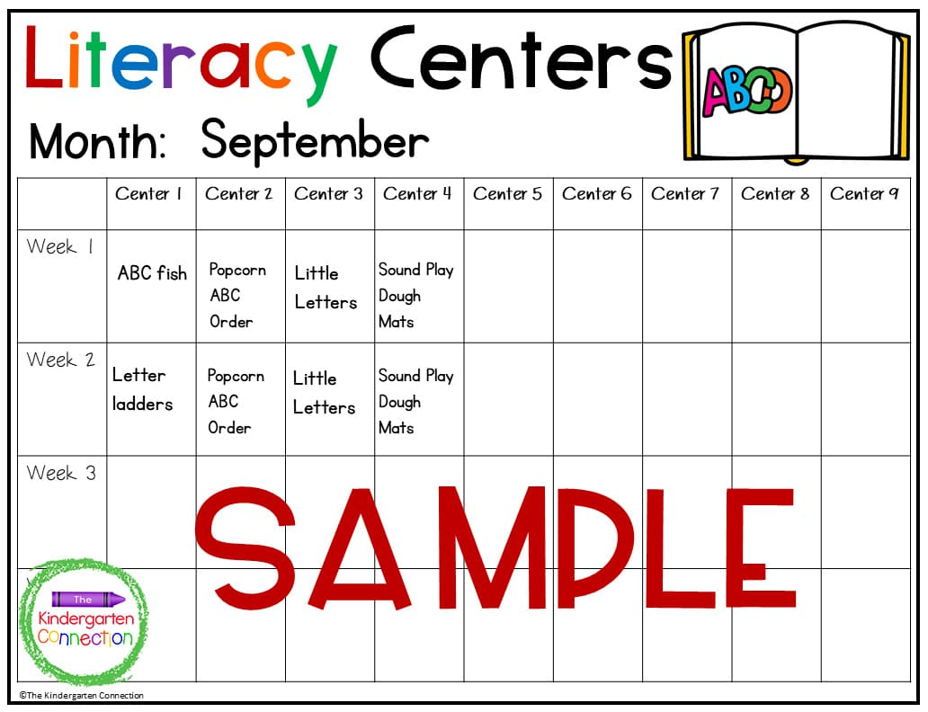 These templates for Kindergarten center planning provide room for up to 9 centers a week.