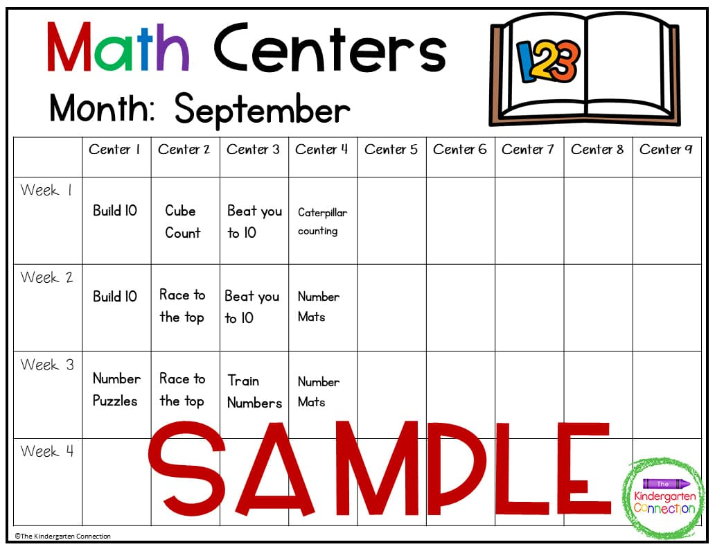 This math center planning template is one of 2 options of templates to choose from.