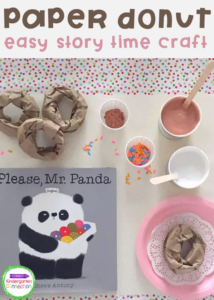 This simple and sweet story time paper donut craft is so fun and provides great practice for strengthening fine motor skills!