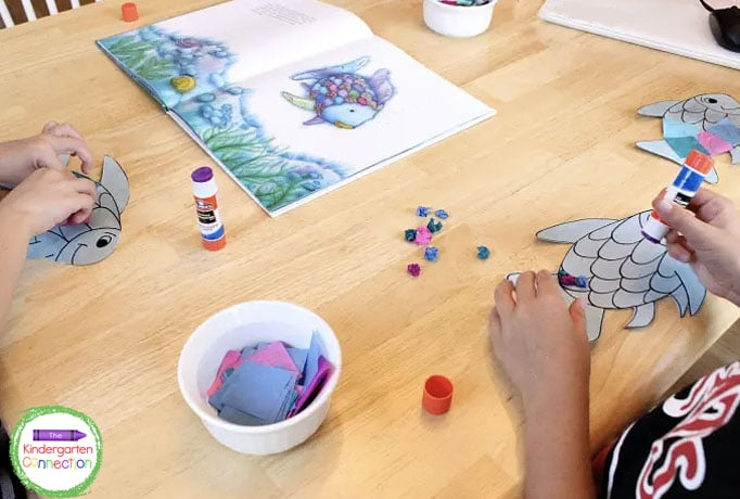 Children can use the pictures from the book as inspiration for their rainbow fish craft.
