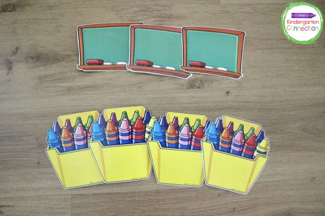 These chalkboard and crayon pack di-cuts work perfectly for this activity!