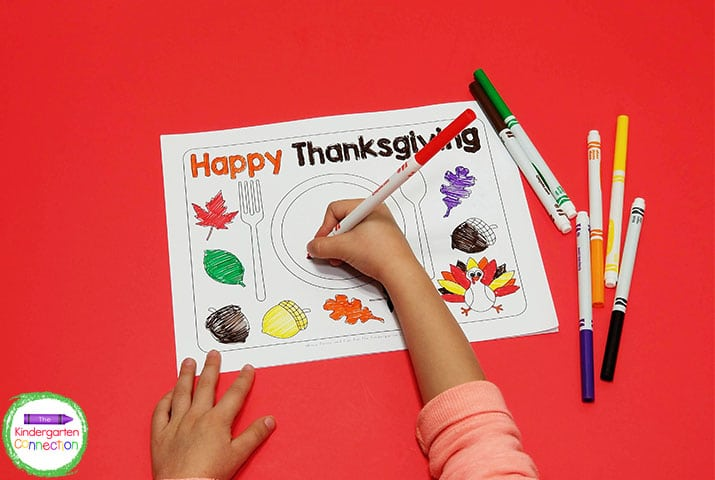These placemats include some fun, fall items to color such as leaves, acorns, and a cute little turkey.
