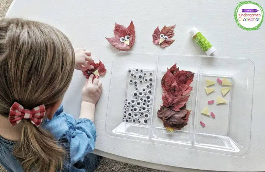 Just glue on some googly eyes and paper beaks to a real or artificial leaf for a simple fall craft.