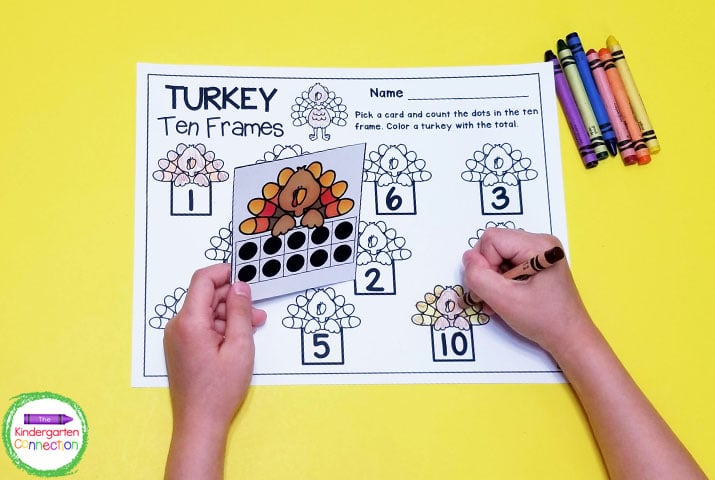 Students pick a turkey ten frame card and find the matching number on the recording sheet.