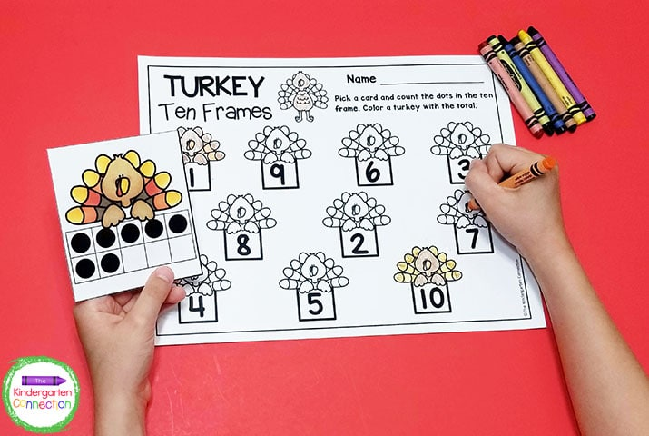 In this game the students practice identifying numbers in ten frames and matching them with their numerals.