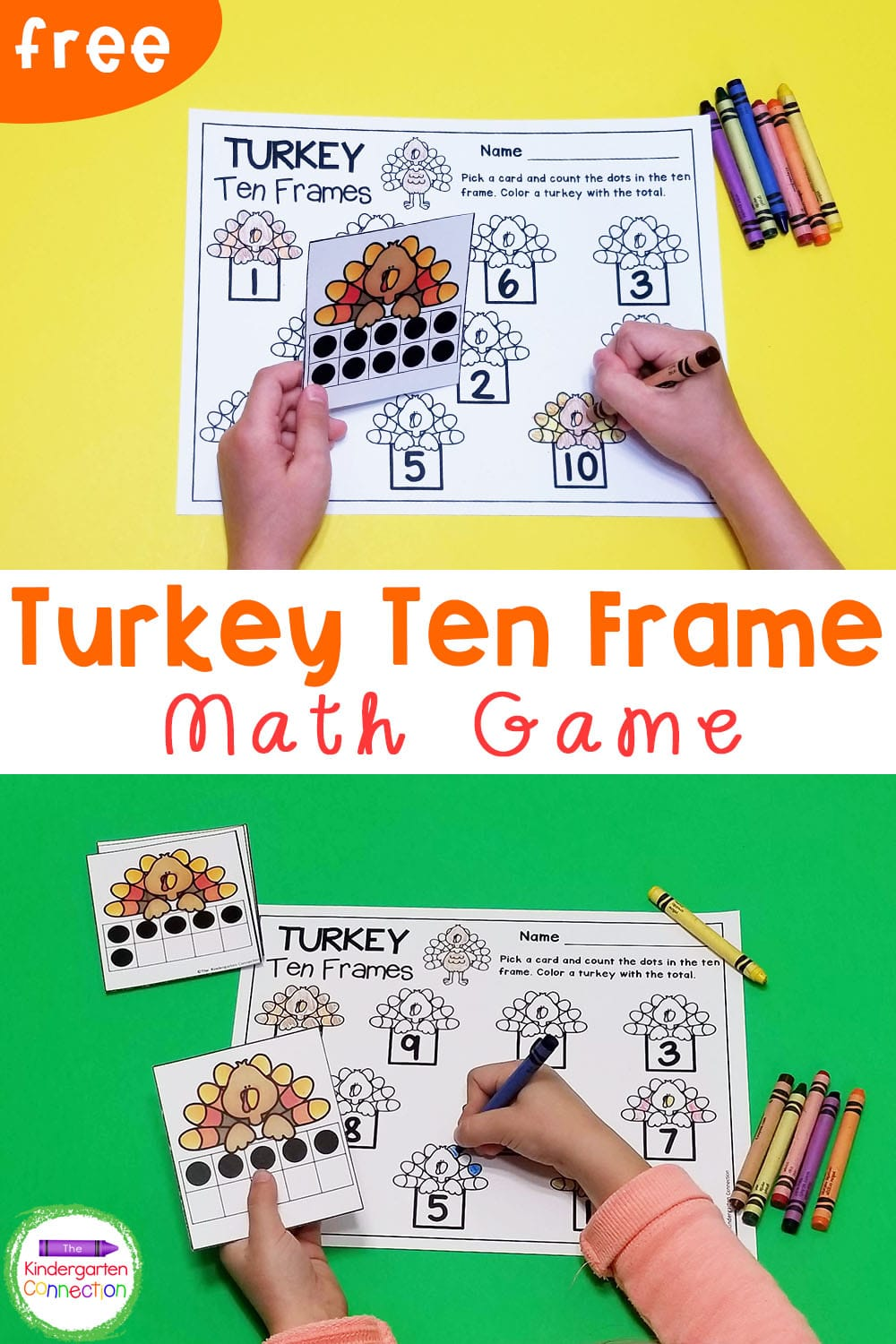 This FREE turkey themed ten frame math game for Kindergarten is a perfect math center for working on counting and subitizing this fall!