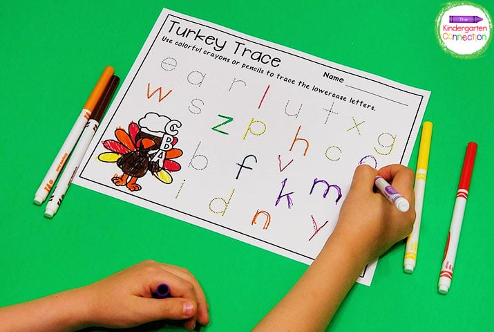 FREE Turkey Alphabet Tracing Printables - The Kindergarten Connection