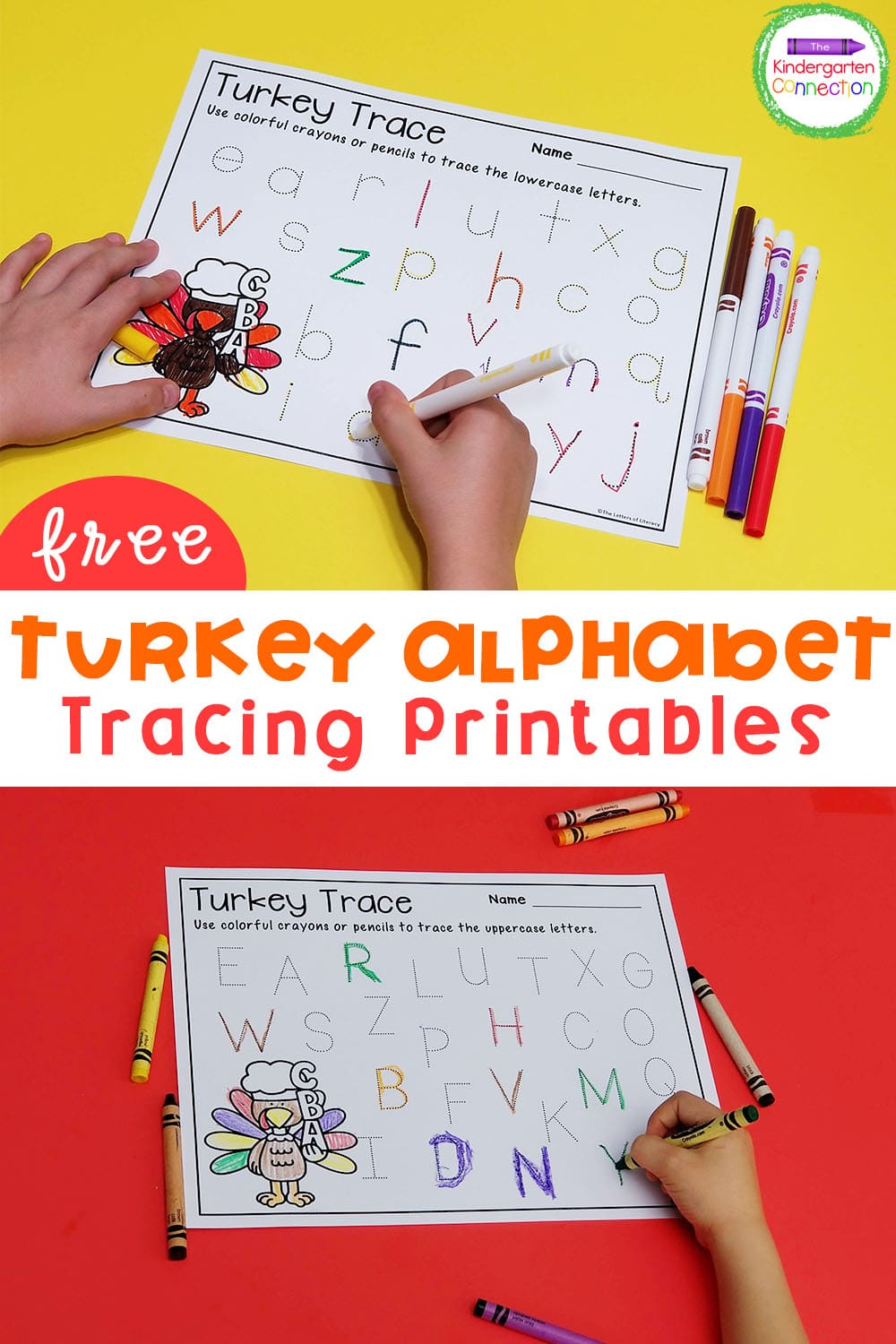 Grab these FREE turkey themed alphabet tracing printables to add some fall fun to your Pre-K and Kindergarten literacy centers!