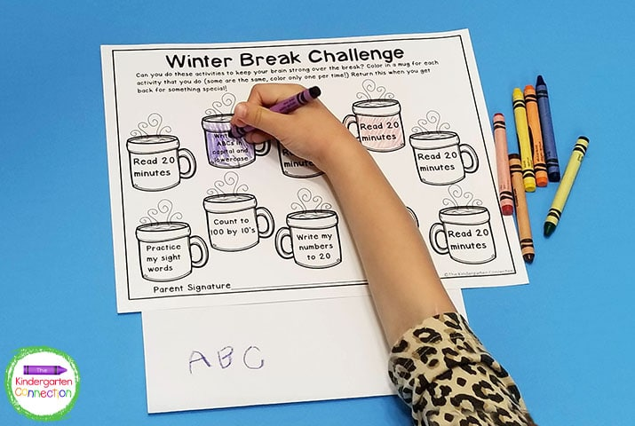 For this winter break homework assignment, the students complete the tasks on the mugs, and color them in as they do!