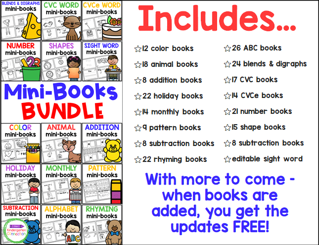 This bundle includes over 200 printable mini-books and it is still growing!