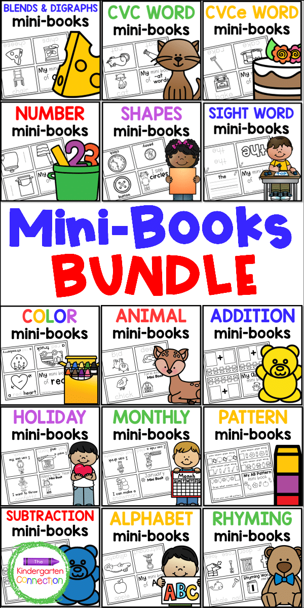 With this Endless Bundle of Printable Mini-Books for Pre-K & Kindergarten, you will have an engaging, easy-prep mini-book for any lesson!