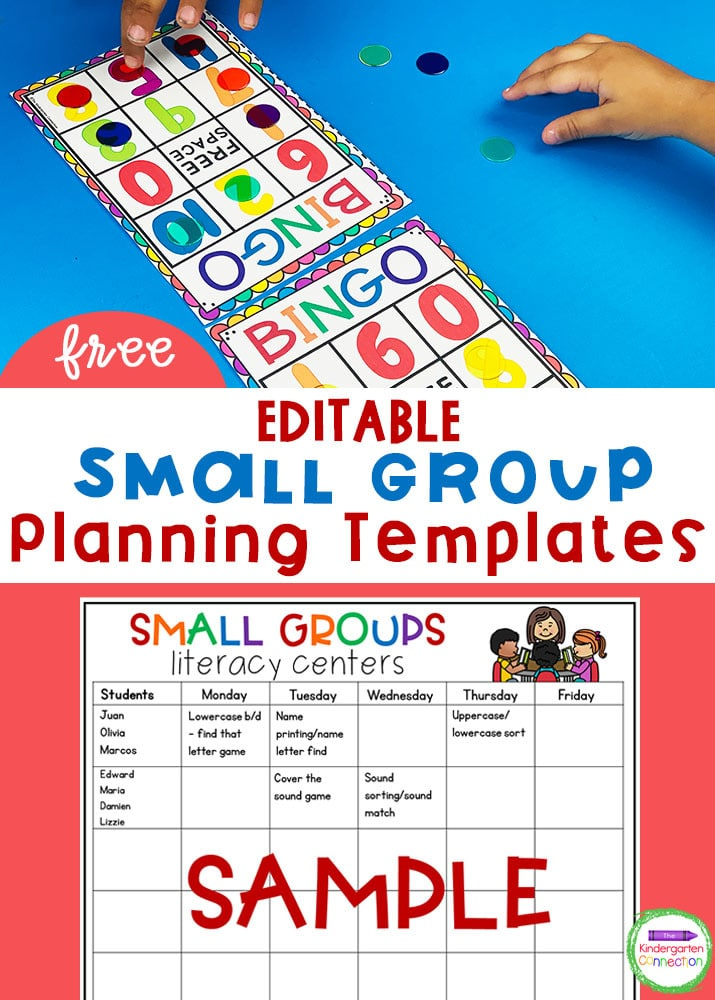 These Editable Math and Literacy Kindergarten Small Group Planning Templates provide a great snapshot of your center plans for the week!