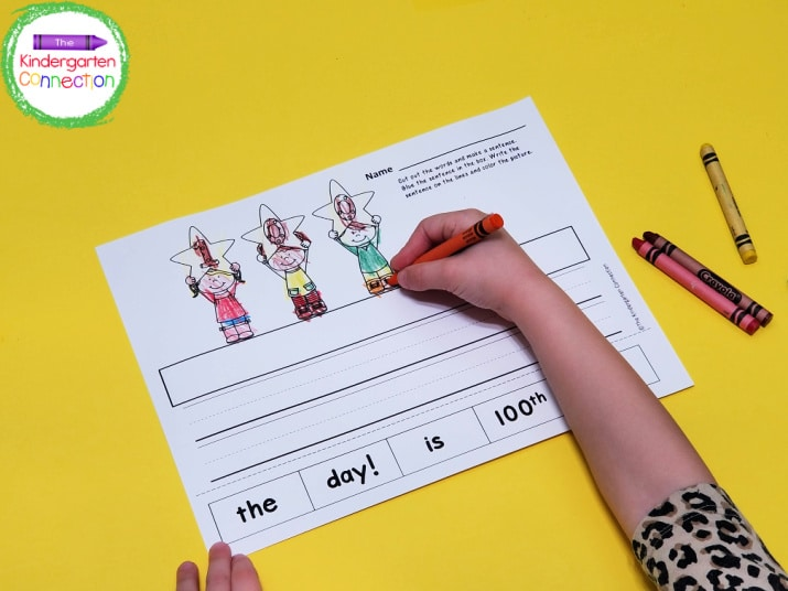 This printable incorporates our favorite activity, coloring! This is a skill, too, and also builds kids' fine motor skills!