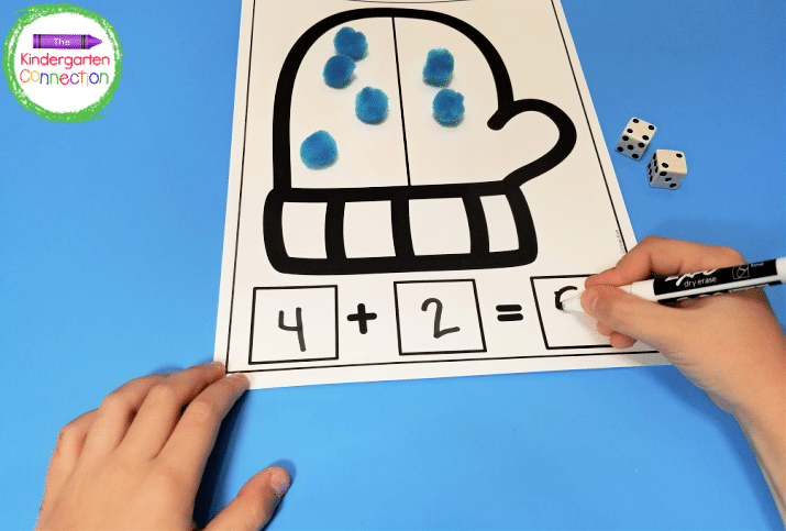 This winter activity includes fun math mats for addition.