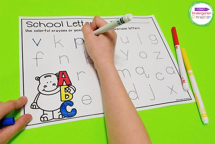 Students love using writing tools like skinny markers to do these alphabet tracing printables.