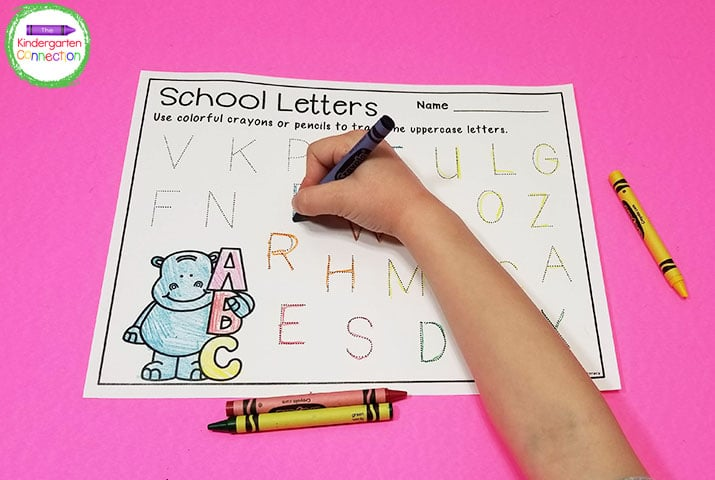 These alphabet tracing printables include both upper and lowercase letters so you can choose which letters you want your kids to practice.