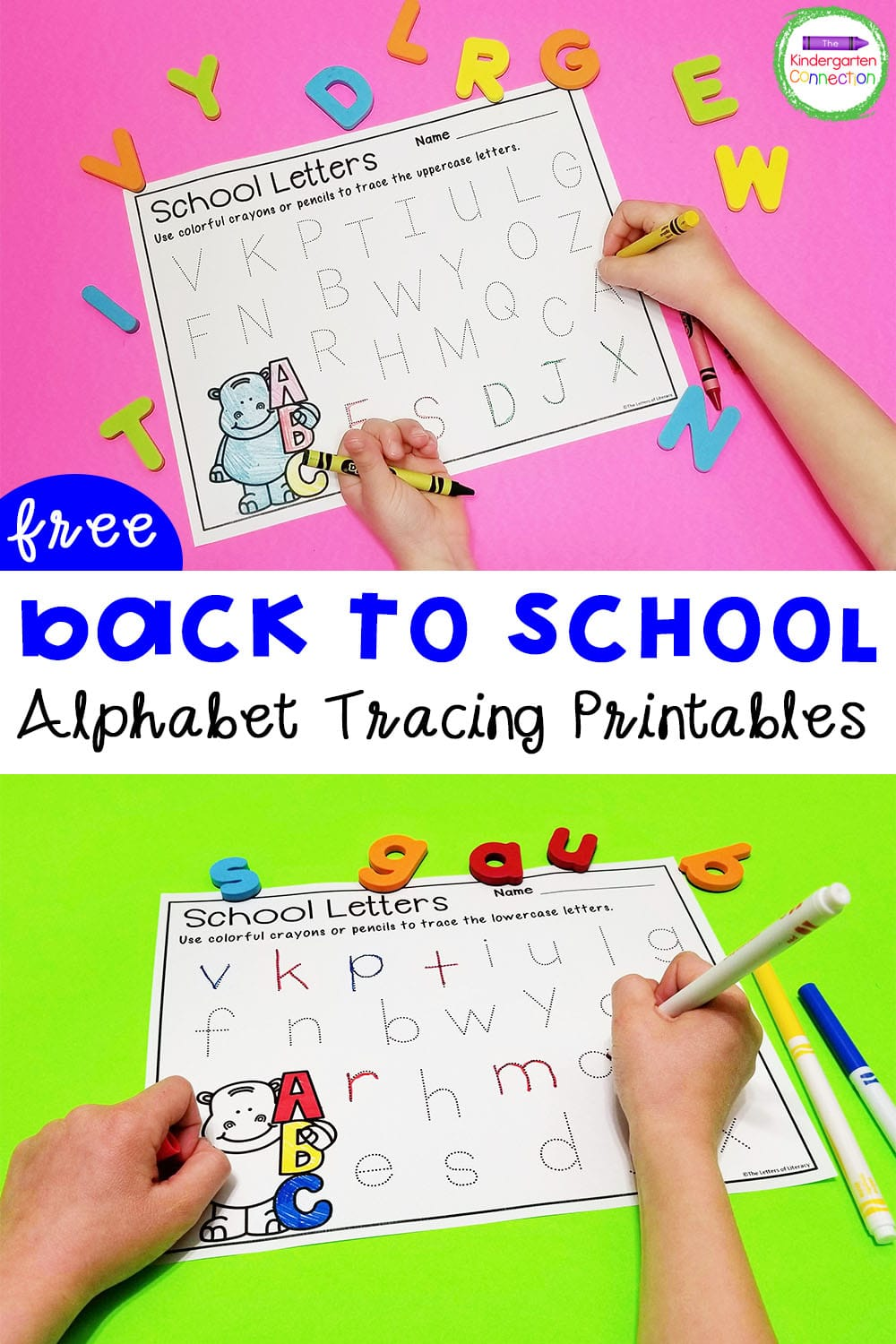 Work on letter recognition and formation with these fun and free Back to School alphabet tracing printables for Pre-K & Kindergarten!