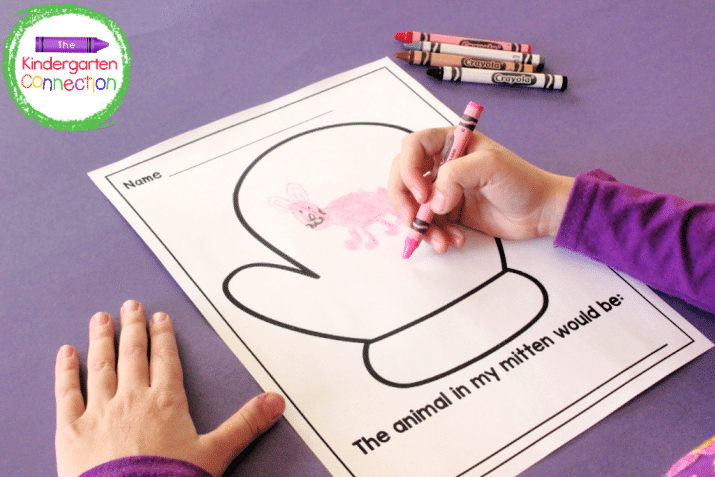There is a writing activity that allows students to decide which animal is in their mitten.