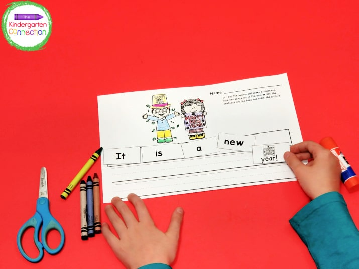 This activity strengthens both our cutting and handwriting skills!