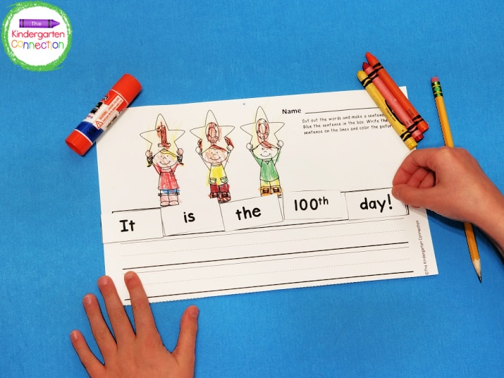 To prep, just print the free printable, grab some crayons, a pencil, and glue!