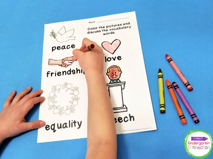 There is also a short vocabulary page with words that we will talk about in Kindergarten.