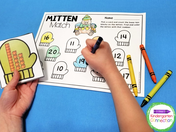 The math centers include activities using ten frames like our Mitten Match game.