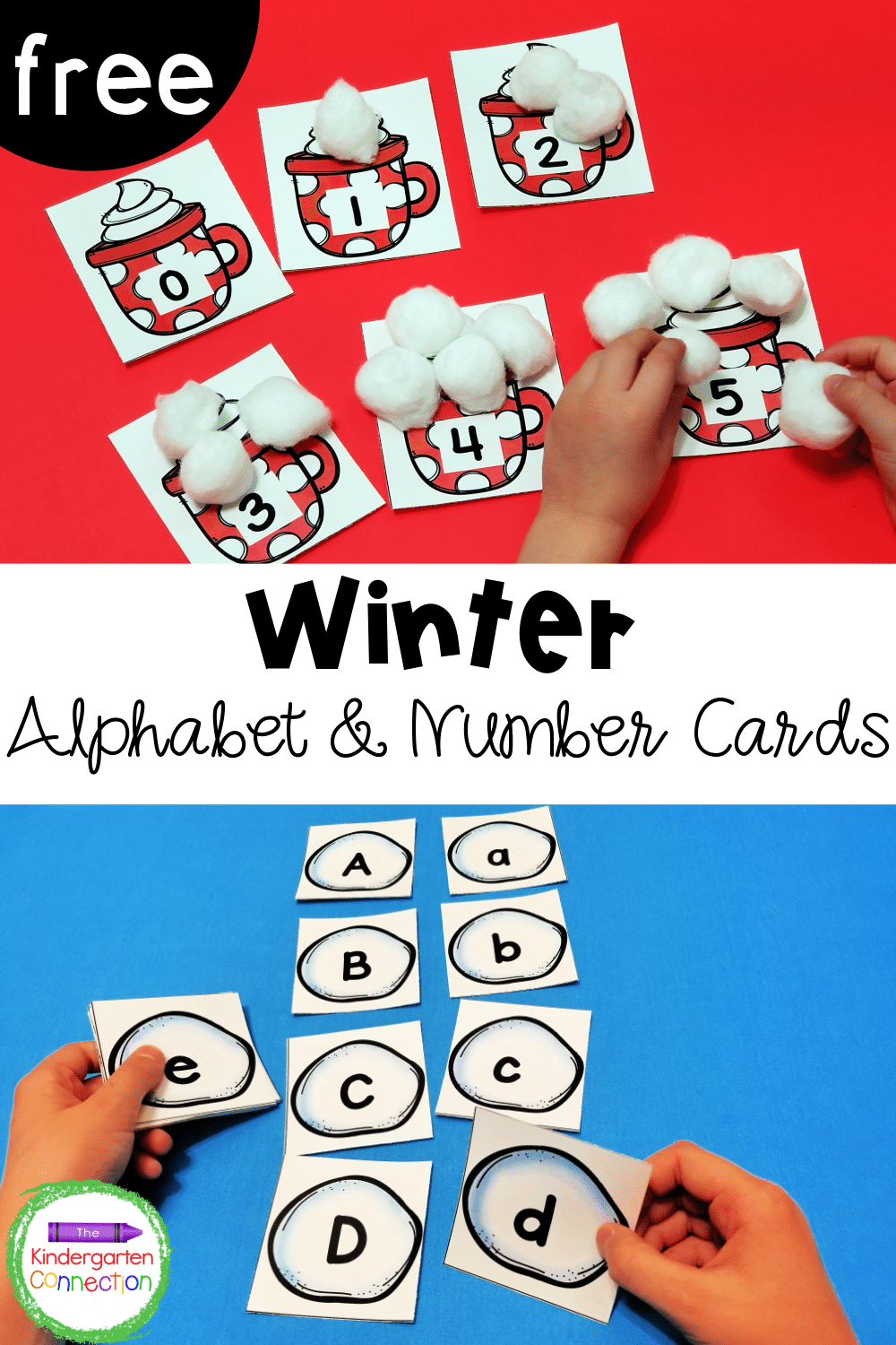 These free alphabet and number cards are the perfect winter themed math and literacy activities! Use them in your small groups or centers!
