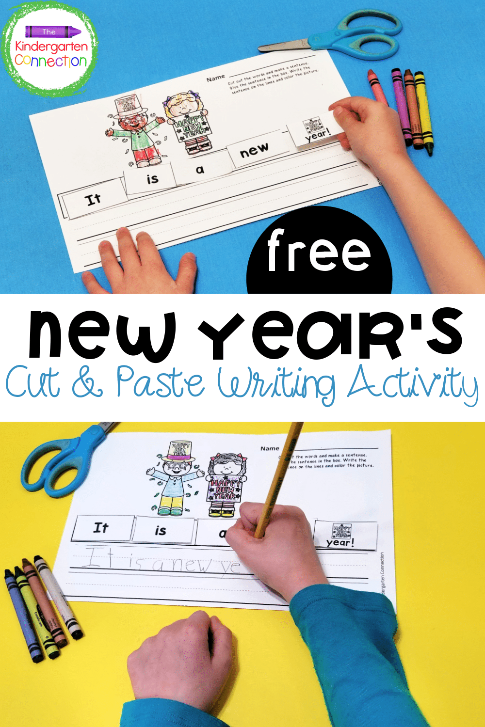 This FREE New Year's Cut and Paste Sentence Activity is great for early learners to work on scissor skills, sight words, and handwriting!
