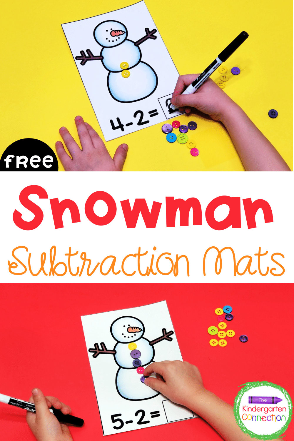 These free snowman subtraction mats make a fun, seasonal math center for Kindergarteners or 1st graders working on subtraction up to 6!
