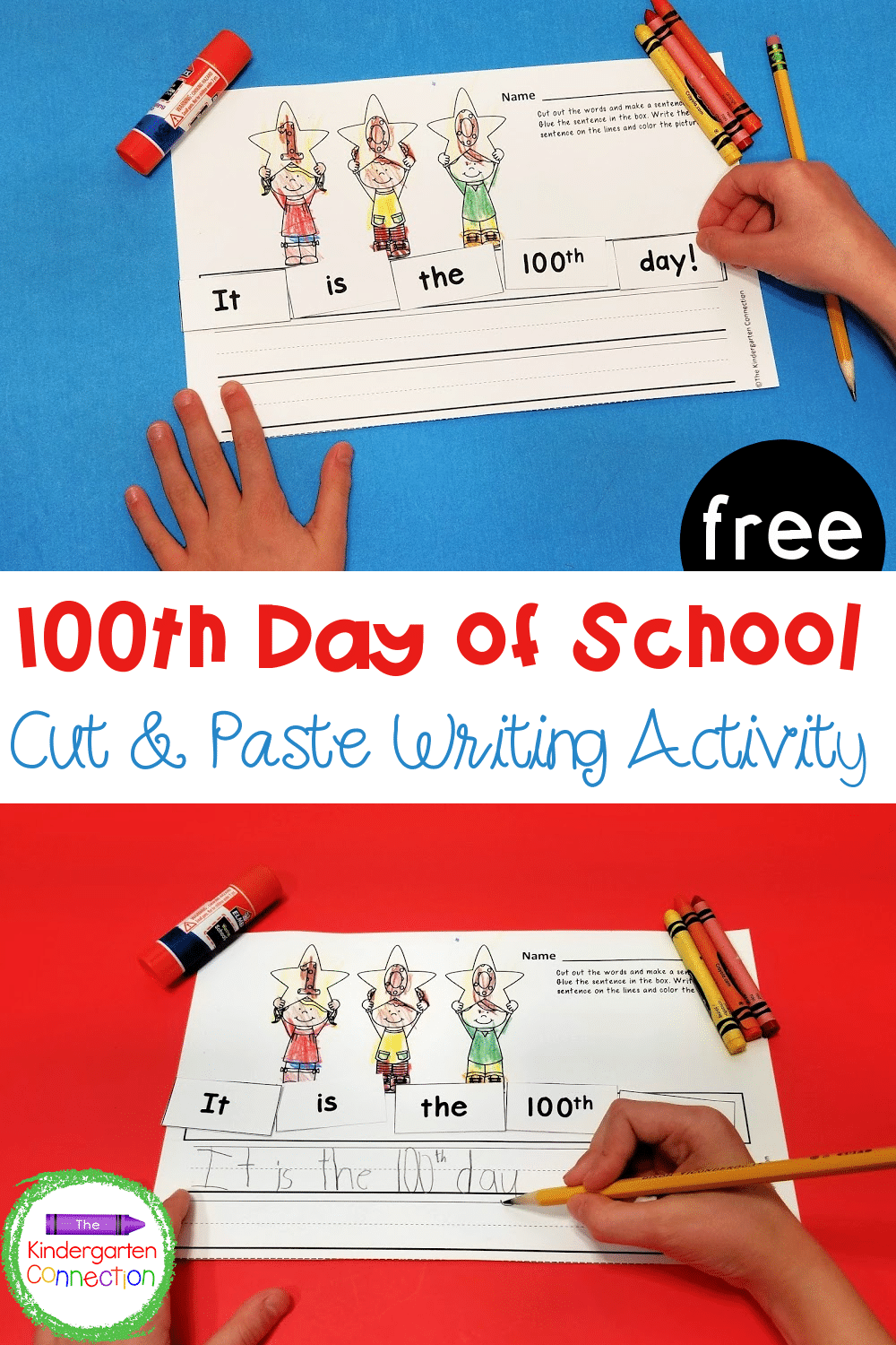 This free 100th Day of School cut and paste sentence printable is a perfect way to celebrate your time together in Kindergarten or 1st grade!