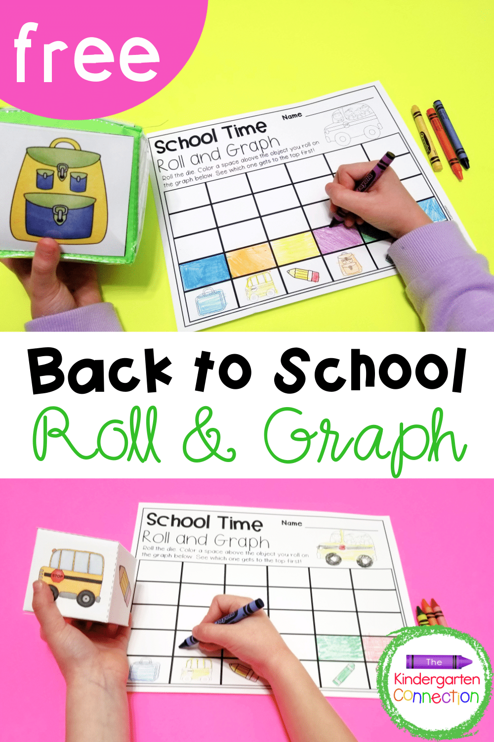 Grab this FREE Back to School Roll and Graph Math Activity for your Kindergarten centers! Turn it into a fun racing game with partners!