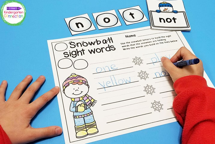 This pack includes 22 snow activities and centers like this easy-prep Snowball Sight Words game.