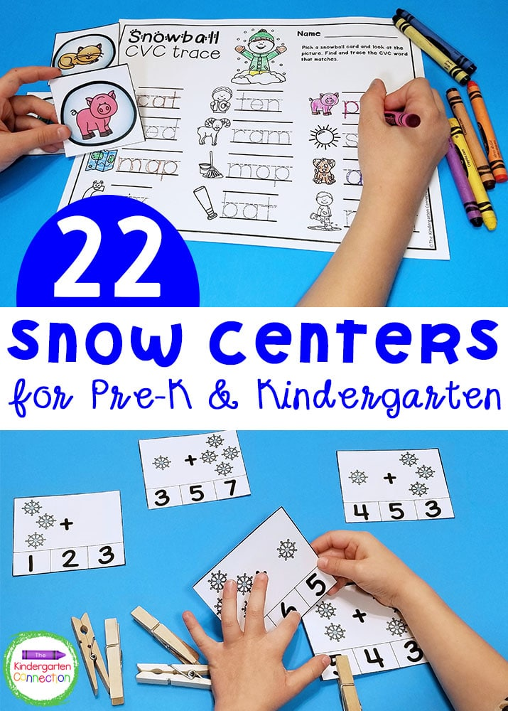 These Snow Activities and Centers for Pre-K & Kindergarten are a fun and seasonal way for your kids to practice math and literacy skills!