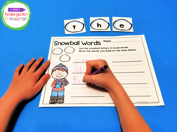 The alphabet card set includes a fun recording sheet for writing down sight words, cvc words, or any words you create!