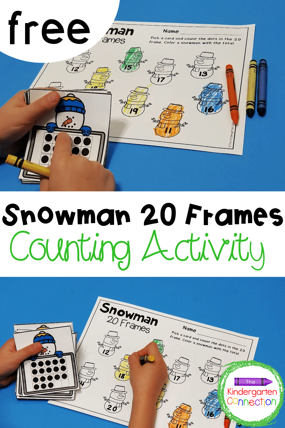 This free snowman 20 frames math game for Kindergarten is a great winter math center for building up number sense with teen numbers!