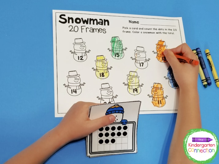 This activity includes snowman 20 frames math cards and a snowman 20 frames recording sheet.