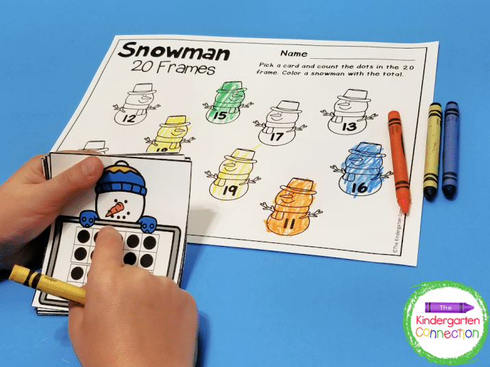 Pull a snowman 20 frames card, count, and color the matching snowman on the recording sheet.