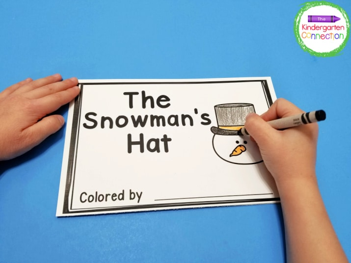 """""""The Snowman's Hat"""" will have your kids recognizing and reading color words!"""