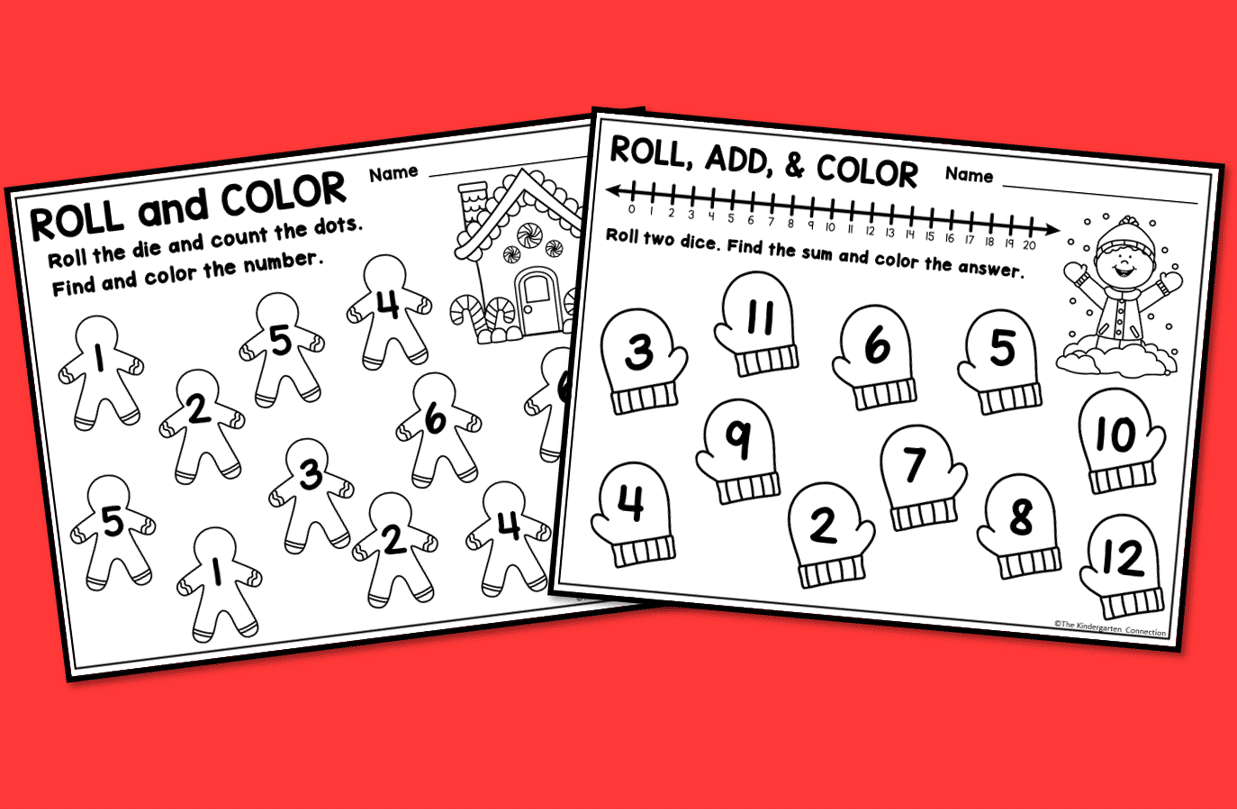 These adorable Holiday Roll and Color games are the perfect independent activity for a classroom holiday party.