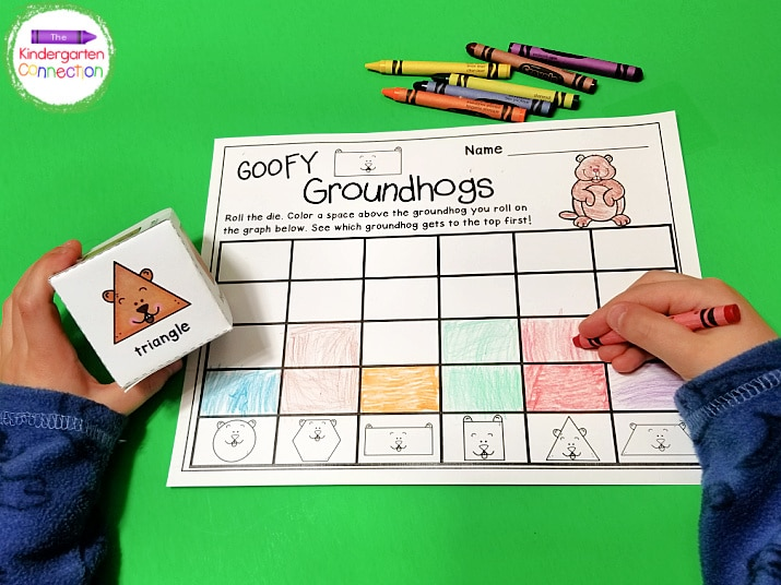 This Groundhog Day activity comes with a printable die that is easy to assemble. Simply cut, fold, and tape to secure.
