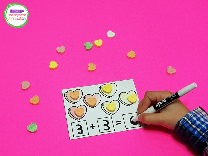 Work on one to one correspondence and addition with these heart addition cards.