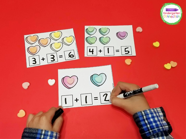 Print out the cards, laminate, and grab your candy hearts and dry erase markers for a super fun math center!