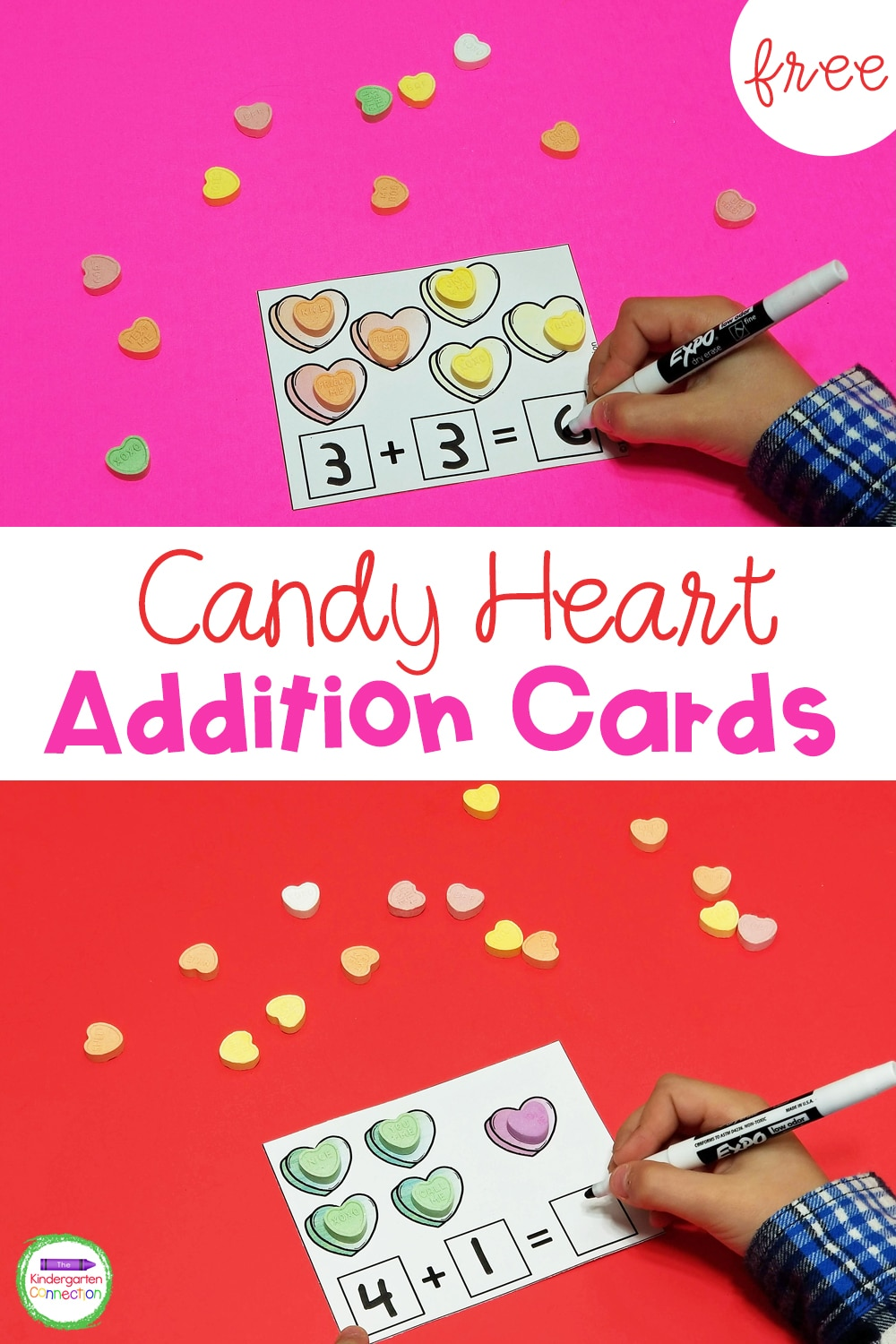 Bring some seasonal fun to your math centers while practicing addition to 10 in an engaging way with these FREE Candy Heart Addition Cards!