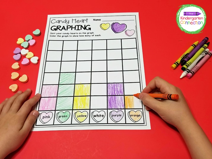 Just print the graphing printable, grab some crayons and candy hearts, and you have a fun, math center!
