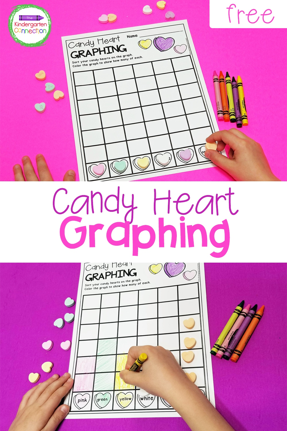 This free candy heart graphing printable makes a fun math center and strengthens counting, sorting, and graphing skills all at once!