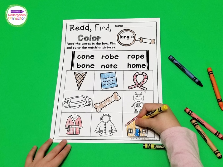 In the CVCe activities, after students identify the pictures that match the words in the box at the top of the page they can color them.