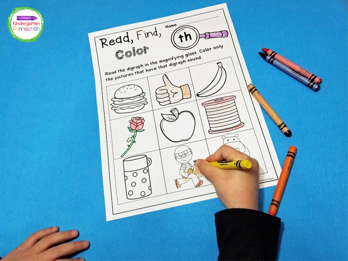 After students identify the pictures that match the digraph at the top of the page then they can color them.