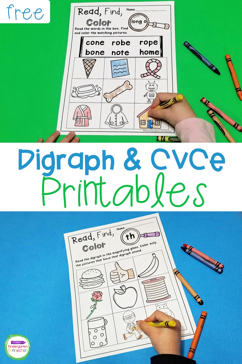 These free Printable Digraph and CVCe Activities are perfect for practice with identifying digraph sounds and reading long vowel words!
